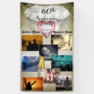Lona Aniversario de boda del diamante 60.o del collage