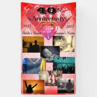 Lona Aniversario de boda del rubí 40.o del collage de