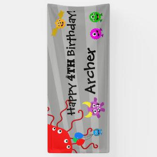 Lona Bandera de la fiesta de cumpleaños del monstruo