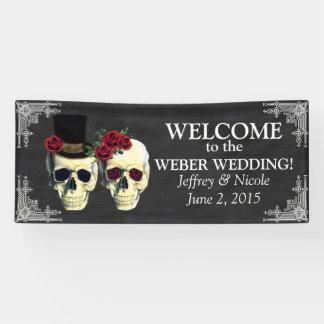 Lona Bandera del boda de novia y del novio del cráneo