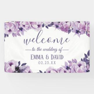Lona Banquete de boda elegante floral púrpura de la