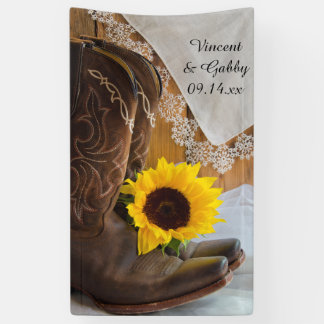Lona Botas de vaquero, girasol y boda occidental del