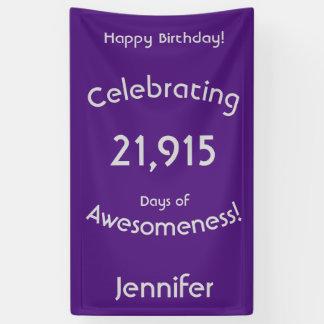 Lona Celebración de 21.915 días de cumpleaños de