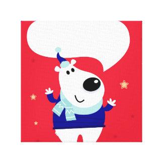 Lona con el oso de peluche: Blanco rojo Impresión En Lienzo