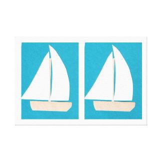 Lona con los veleros en un fondo de la turquesa impresión en lienzo
