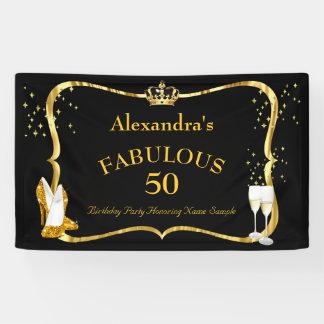 Lona cumpleaños negro fabuloso de Champán de 50 talones