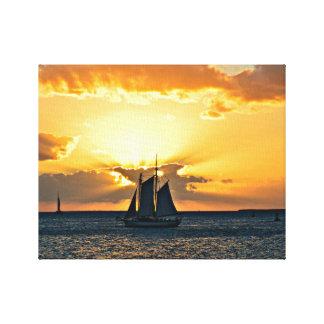 Lona de la foto de la puesta del sol del velero de impresión en lienzo