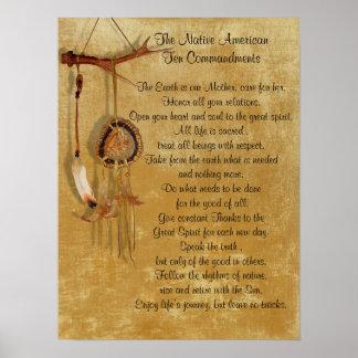 Lona de los mandamientos del nativo americano diez póster