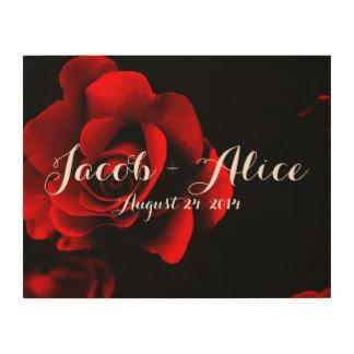Lona de madera romántica del rosa rojo del amor impresión en madera