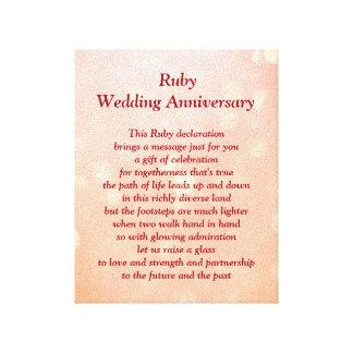 Lona de rubíes del aniversario de boda lienzo