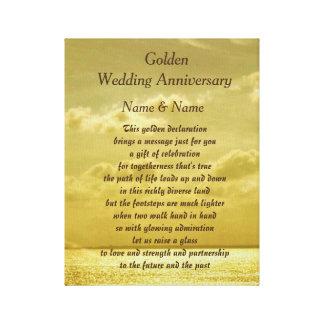 Lona del aniversario de boda de oro lienzo