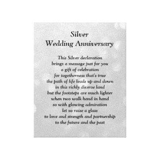 Lona del aniversario de bodas de plata lienzo