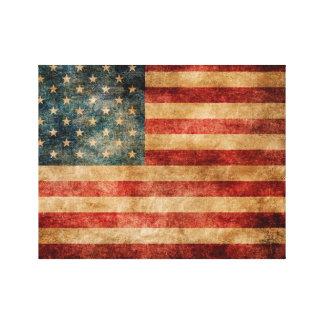 Lona del vintage de la bandera americana impresión en lienzo