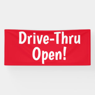 Lona ¡Drive-Thru Open! Banner comercial