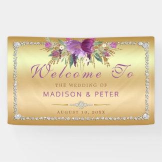 Lona El brillo púrpura florece el boda del oro de los