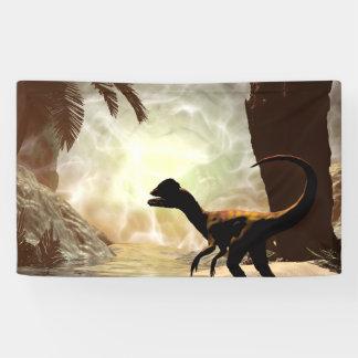 Lona El otro mundo, dinosaurio en el río