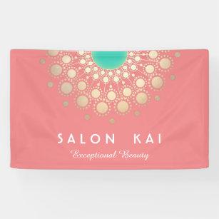 Lona Elegante Motif Círculo de Coral Rosa y Oro