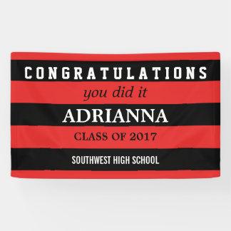 Lona Enhorabuena graduada negra y rayas rojas