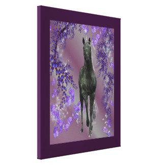 Lona envuelta 16x20 negra del unicornio de la fant lona envuelta para galerias