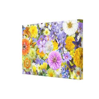 Lona - envuelta - flores y mariposas lienzo