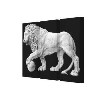 Lona envuelta león de mármol impresión en lienzo estirada