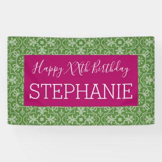 Lona Feliz cumpleaños - verde rosado modelado