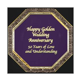 Lona feliz del aniversario de boda del oro y del impresión en lienzo