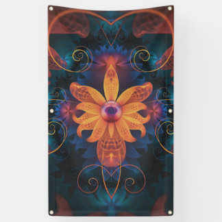 Lona Flor Naranja-Azul hermosa de la orquídea del ángel