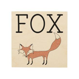 Lona ilustrada de madera del Fox Impresión En Madera
