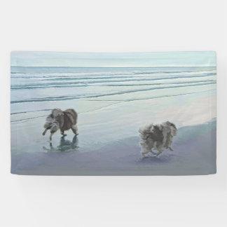 Lona Keeshonds en el arte del perro de la pintura de la