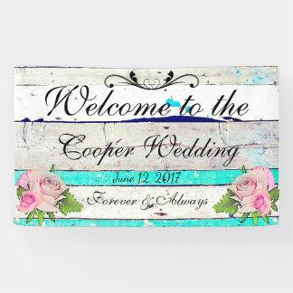 Lona Madera rústica y bandera floral del boda