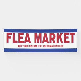 Lona Muestra del mercado de pulgas roja y azul con el