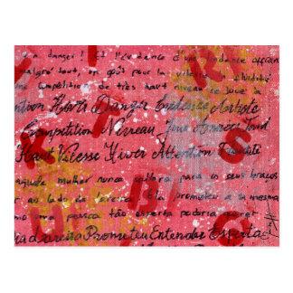 Lona pintada y escrita tarjetas postales