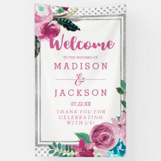 Lona Puntos florales y de plata rosados elegantes que