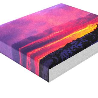 Lona púrpura de la puesta del sol impresión en lienzo
