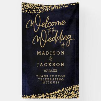 Lona Recepción del boda del confeti del oro de la