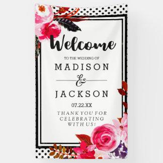 Lona Recepción floral de Boho y negra rosada del boda