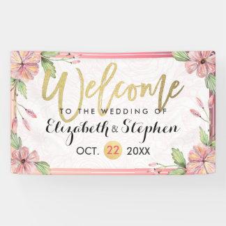 Lona Recepción floral del boda de la escritura de la