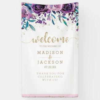 Lona Recepción floral púrpura elegante del boda del oro