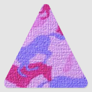Lona rosada de los caballos pegatina triangular