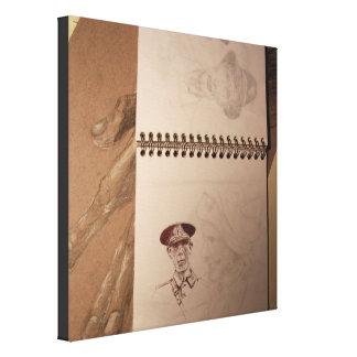 Lona rusa del Sketchbook del soldado Impresion De Lienzo