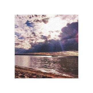 Lona serena de la puesta del sol de la playa lienzo