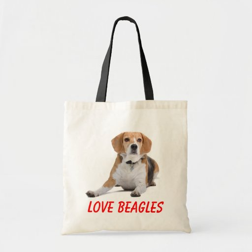 Lona Totebag del perro de perrito de los beagles d Bolsas De Mano