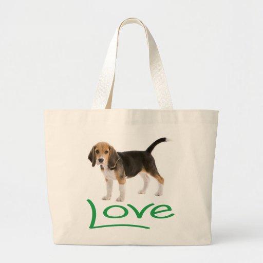 Lona Totebag del perro de perrito del beagle del Bolsas De Mano