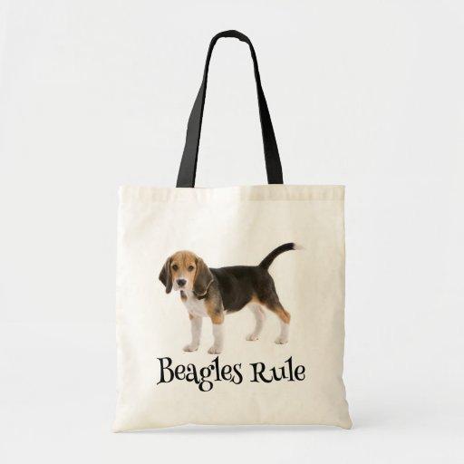 Lona Totebag del perro de perrito del beagle del Bolsas