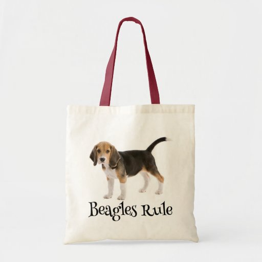 Lona Totebag del perro de perrito del beagle del Bolsa De Mano