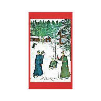 Lona tranquila del pueblo de la nieve del vintage impresión en lienzo
