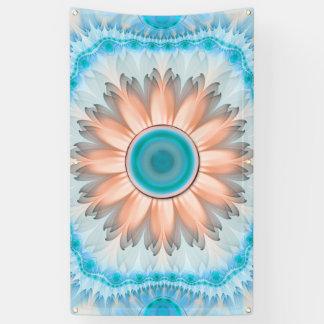 Lona Turquesa limpia y pura y flor blanca del fractal