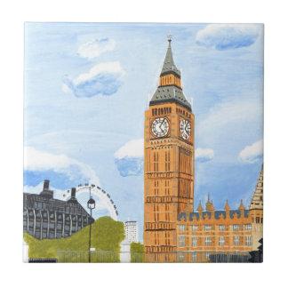 Londres Big Ben Azulejo Cuadrado Pequeño