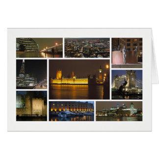 Londres en la multi-imagen de la noche tarjeta de felicitación